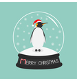 King Penguin Emperor in red santa hat Cute cartoon