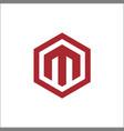 m hexagon logo vector image vector image