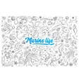 Marine life doodle set with lettering vector image