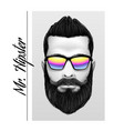 mr hipster slogan printing black and white men vector image