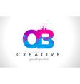 ob o b letter logo with shattered broken blue vector image vector image