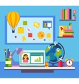 Online education e-learning science concept with vector image vector image