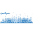 outline guadalajara mexico city skyline with blue vector image vector image
