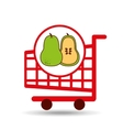 pear shopping cart graphic vector image
