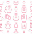 perfume bottles seamless pattern with line icons vector image vector image