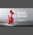 red nail polish product flask landing page vector image vector image