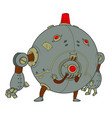 round metal robot with little legs and big arms vector image