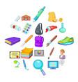 schoolbook icons set cartoon style vector image vector image