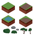 set cartoon isometric ground elements for games vector image