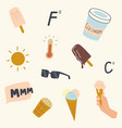 set melted ice cream and summer time vector image