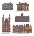 set netherland or holland architecture in line vector image vector image