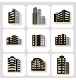 Set of dimensional buildings icons in grey and