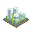 skyscrapers with shiny glass facades icon vector image