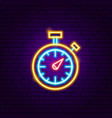 stopwatch neon sign vector image