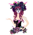 Sugar Skull Girl in Flower Crown13 vector image vector image