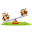 Two monkeys playing on seesaw vector image vector image