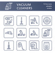 vacuum cleaners flat line icons different vacuums vector image vector image