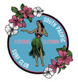 vintage hawaiian hula badge vector image