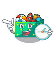 with clock cartoon toy boxes in a bedroom vector image