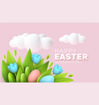 3d trendy realistic easter greeting card banner vector image vector image