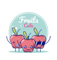 apples cute fruits cartoons vector image