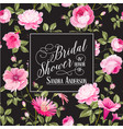 bridal shower invitation with flowers vector image vector image