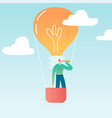 businessman flying on air balloon with light bulb vector image