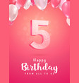 celebrating 5 years birthday 3d vector image vector image