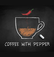 chalk sketch coffee with pepper vector image