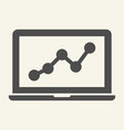 chart on laptop solid icon graph on notebook vector image vector image