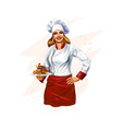 chef baking a cake confectionery on white vector image