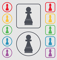 Chess Pawn icon sign symbol on the Round and vector image vector image