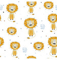 childish seamless pattern with hand drawn lions vector image