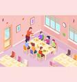 children at kindergarten having meal vector image vector image