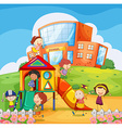 Children playing in the school playground vector image vector image