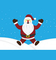 christmas santa claus jumping snow hill background vector image vector image