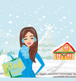 christmas shopping - winter sale card vector image