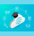 cloud with graduation cap icons blue vector image vector image
