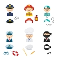 cute cartoon set costumed kids with different vector image