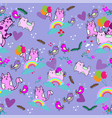 cute cat seamless pattern with flower rainbow on vector image vector image