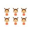 cute girl facial emotions set kids face with vector image vector image