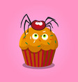cute happy halloween cupcake with spider and vector image vector image