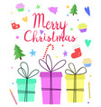 cute merry christmas greeting card new year vector image