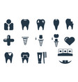 dental icons set simple collection black and vector image