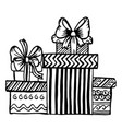 doodle gifts with bow and without black vector image