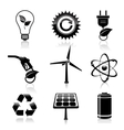 Energy and ecology black icons set vector image