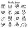 Family people icon set in thin line style vector image