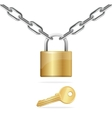 Golden Chain Padlock and Key vector image vector image