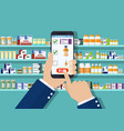 hand pharmacist hands holding tablet vector image vector image