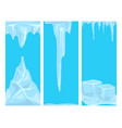 ice caps snowdrifts icicles card design arctic vector image vector image